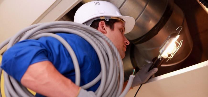 Commercial HVAC service worker